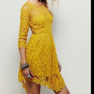 Free People Dresses - Free People Floral Mesh Mustard Dress